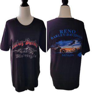 VINTAGE HARLEY DAVIDSON RENO NEVADA GRAPHIC 100% COTTON T-SHIRT